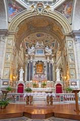 ROME, ITALY - MARCH 9, 2016: The sanctuary of church Basilica di Santa Maria del Popolo.