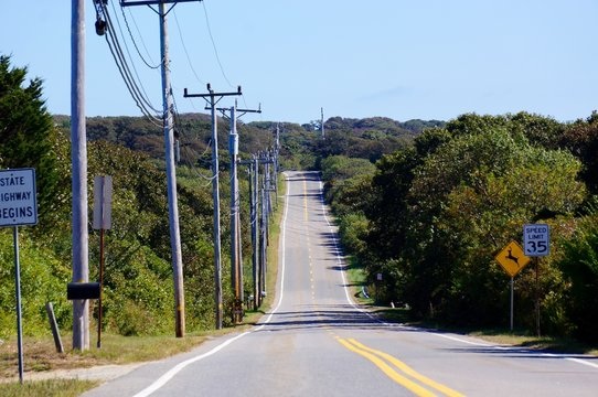 The road to Gay Head, Aquinnah, Martha's Vineyard, Massachusetts
