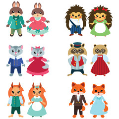 Couples of cute cartoon animals isolated on white background. Flat vector illustration.