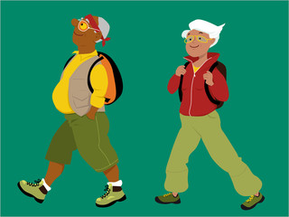 Energetic mature couple hiking with backpacks, EPS 8 vector illustration