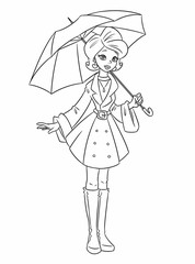 Girl autumn umbrella coloring pages cartoon illustration isolated image