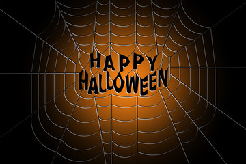 Spider web with Happy halloween text hanging in the middle on a gradient background