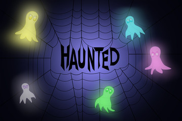 Spider web with word haunted hanging in the middle, with neon colored ghosts flying around it