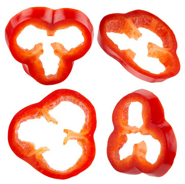 collection of red pepper slices isolated on the white background
