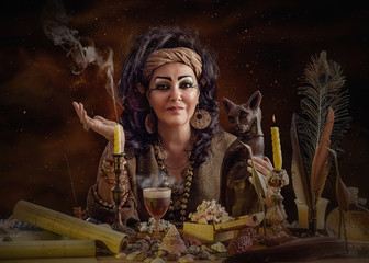 Portrait of old female Egyptian psychic