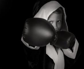 Black and white boxing boy portrait