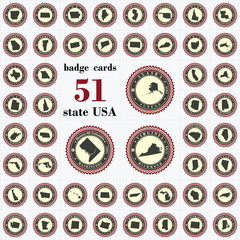 Vintage badge cards of State USA.
