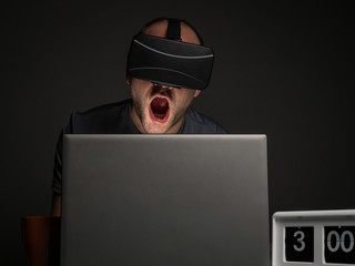 Technology addicted man with insomnia