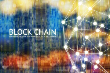 Block chain network concept , Distributed ledger technology , Block chain text and Distributed connection with abstract background Wall mural
