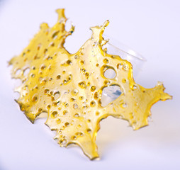 Cannabis oil concentrate aka shatter isolated