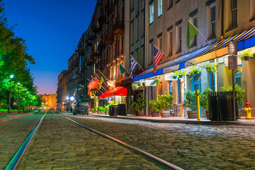 Shops and restaurants at River Street in downtown Savannah in Ge