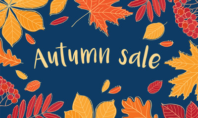 Autumn sale. Fall of the leaves. Sketch, doodles, design elements. Vector illustration.