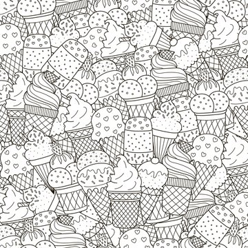 Black and white ice creams seamless pattern
