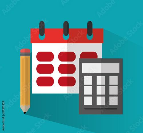 Calendar Pencil And Calculator Icon Office Work Supplies