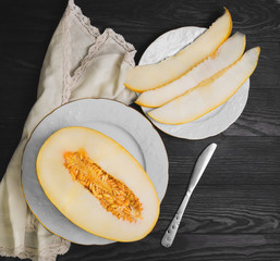 Fresh ripe yellow melon