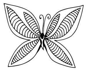 Abstract black line butterfly for different card, invitation