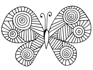Abstract butterfly for greeting card, coloring book