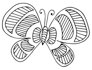 Black line butterfly for greeting card, coloring book