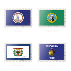 Postage stamp with the image of Virginia, Washington, West Virginia, Wisconsin flag.