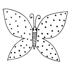 Black line butterfly for tattoo, coloring book for adult