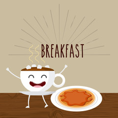 delicious and nutritive breakfast character vector illustration design