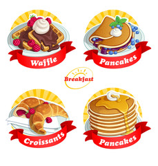 Labels with a red ribbon. A set of food for breakfast Classical breakfast. Vector illustration.
