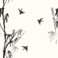 Seamless pattern. Hand drawn bamboo and sparrows