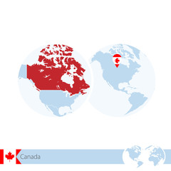 Canada on world globe with flag and regional map of Canada.