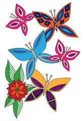 Set colorful butterfly with abstract flower