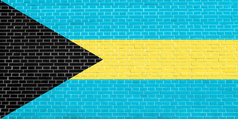 Flag of Bahamas on brick wall texture background