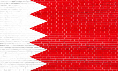 Flag of Bahrain on brick wall texture background