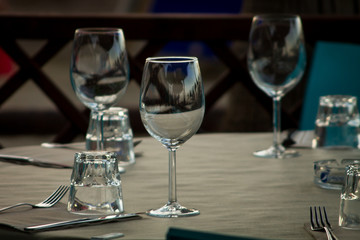 Three glasses waiting for guests