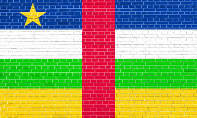 Central African Republic flag, brick wall texture