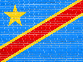 Flag of DR Congo on brick wall texture background