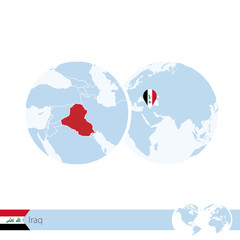 Iraq on world globe with flag and regional map of Iraq.