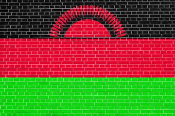 Flag of Malawi on brick wall texture background