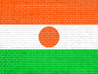 Flag of Niger on brick wall texture background