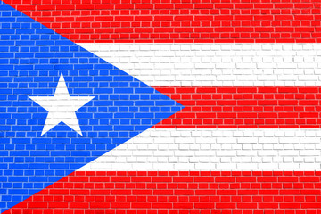 Flag of Puerto Rico, brick wall texture background