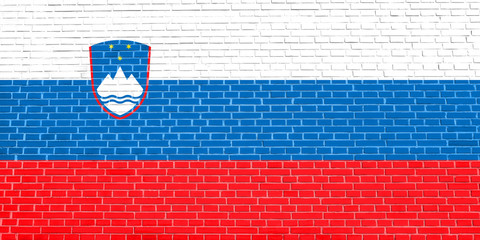 Flag of Slovenia on brick wall texture background