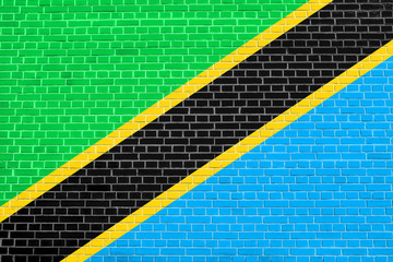 Flag of Tanzania on brick wall texture background