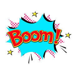 Popart comic speech bubble boom effects vector.