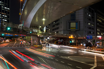 Light trails in Shibuya at night