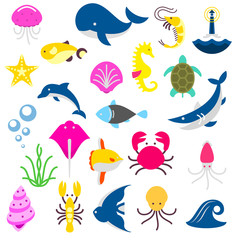 isolated fishes and beasts from the sea, shark, crab, octopus, dolphine, whale, turtle, fish, calmar, jellyfish