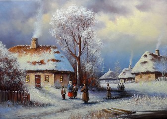 Painting, landscape of old winter village