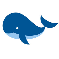 cartoon whale icon isolated on white background