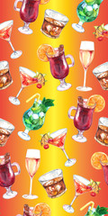 Watercolor exotic drink alcohol cocktail seamless pattern texture