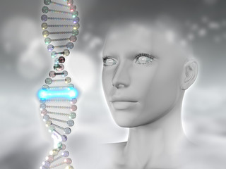 3D female head with DNA strands