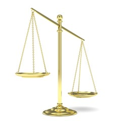 Isolated white golden scales on white background. Symbol of judgement. Law, measurement, liberty in one concept. 3D rendering.