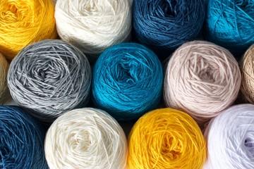 Balls of wool cotton silk yarn set top view