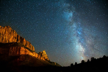 Nightscape Milky Way in Zion Canyon Wall mural